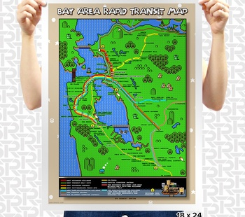 Super Mario San Francisco BART Map Poster