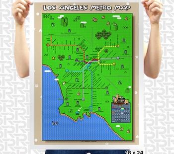 Super Mario Los Angeles Metro Map Poster