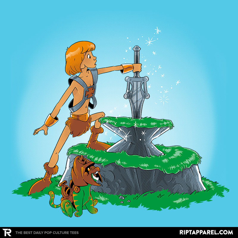 Detail View of T-Shirt - Power Sword and the Stone