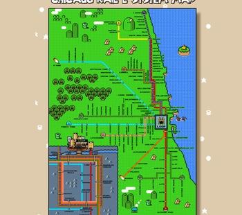 Super Mario World Chicago L Train Map